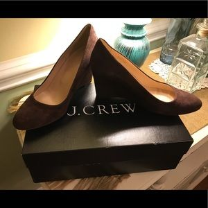 J.Crew dark brown suede wedges
